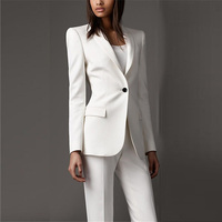 White Formal Women Business Formal Office Lady Outfit Suits Female Slim Fit Fashion 2 Pieces Custom Made Tuxedos Suits