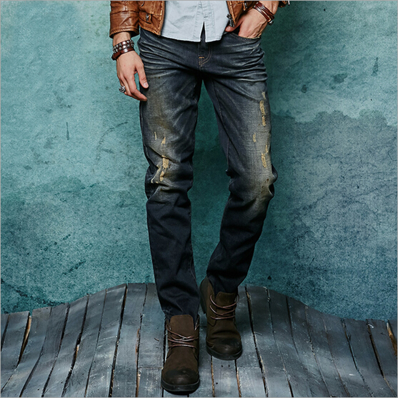 Slim cotton elastic fabric jeans denim Biker jeans men good quality cotton mens jeans autumn straight men jeans dsel brand men jeans denim white stripe jeans mens pants buttons blue color fashion street biker jeans men straight ripped jeans