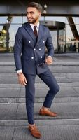 2019 New Fashion Groom's Wear Stripes Dinner Jacket Wedding Suits For Men 2 Pieces Suits(Jacket+Pants)