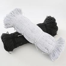 Hurtownie 1MM 2MM 3MM biały czarny cienkie okrągłe opaski elastyczne elastyczna lina ślubna taśma elastyczna dla DIY akcesoria do szycia tanie tanio Polyester Elastic band white black garment decoration sports protective gear medical bandages