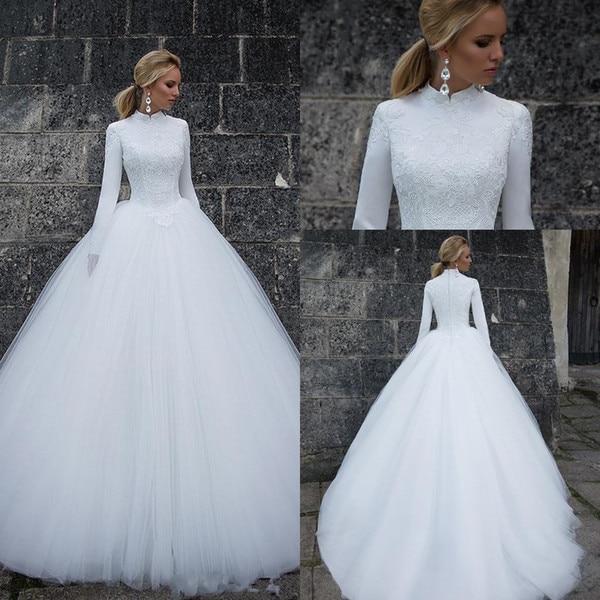 White Muslim Wedding Dresses 2019 Ball Gown High Neck Long