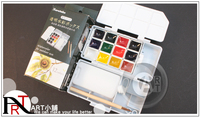 Free shipping Japanese Kuretake 12 color solid Transparent watercolor pigment combination