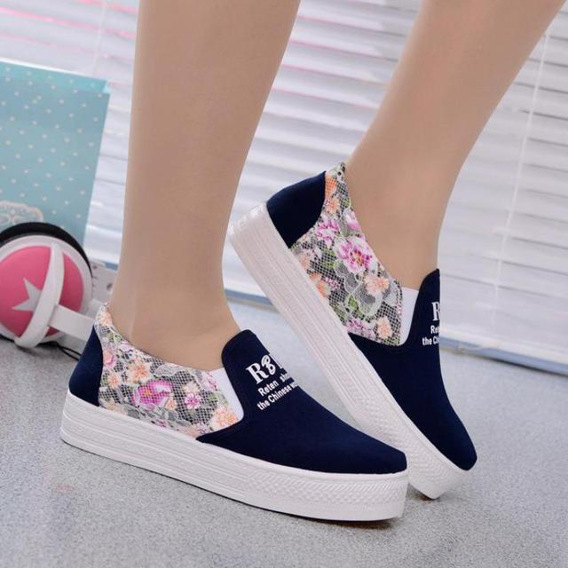 Floral Print Canvas Shoes Women's Lace Platchwork Platform Creeper Femme 2017 Breathable Casual Loafers Feminino Thick Bottom