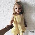 Nova Chegada do Vestido Bonito para a Menina MAKA MIÚDOS Bonitos Vestidos de Verão Amarelo Trompete Europeia Encantador Da Criança Meninas Moda Vestido Solto