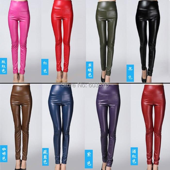 Mode Solide Noir Femmes Leggings Stretch Faux Cuir Taille Haute Pantalon 8  couleurs 33a2ca0950a0