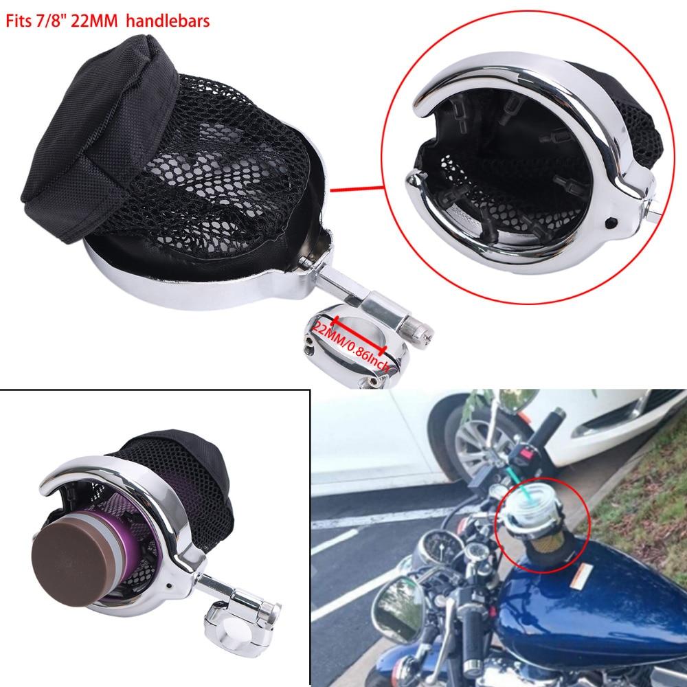 Universal Motorcycle Handlebar Cup Drink Holder for Harley Sportster Dyna Fat Bob Fatboy Moto Bike with 7/8Handlebar #MBJ074-22
