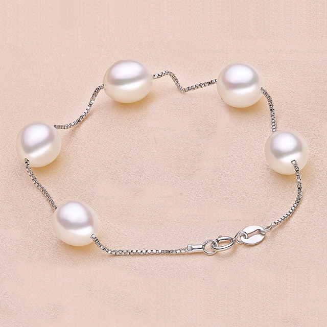 Water Drop Round Natural White Pearl 925 Sterling Silver Box Chain Bracelet