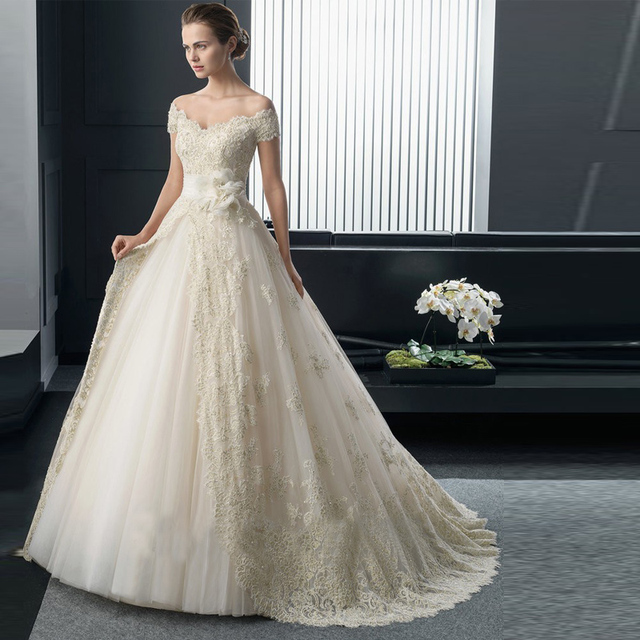 Sexy Boat Neck lace wedding dress A Line princess short sleeves ...