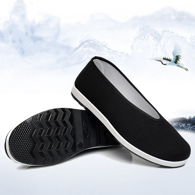 Retro Black Men Shoes Bruce Lee Wing Chun Chinese Kung Fu Old Beijing Cloth Shoes For Tai Chi Martial Art Artes Marciales Kendo