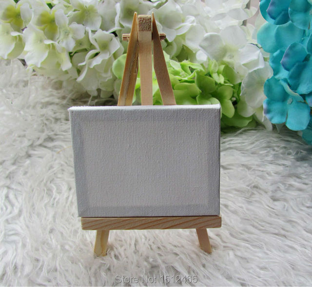 6 Sets Mini Display Easel With Canvas 7 9cm Wedding Table Numbers Painting Hobby Wooden