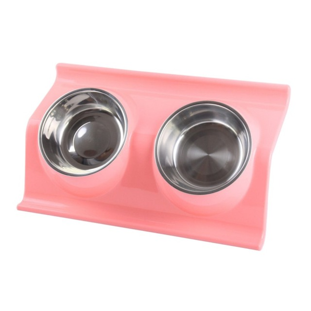 Stainless Steel Anti-skid Double Food and Water Bowl For Dogs and Cats