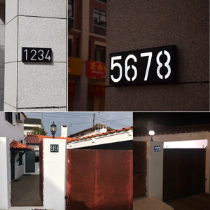 Image 5 - House Number Solar Light LED Bulb Digital Solar Powered Lamp Wall Mount Illumination Doorplate Porch Lights With Battery