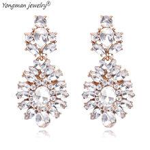 YONGMAN JEWELRY Long Drop Earring Rhinestone Big Earrings Formal Luxury  Bridal Elegant Statement Jewelry Wedding Evening Party 31aaa60f35d6