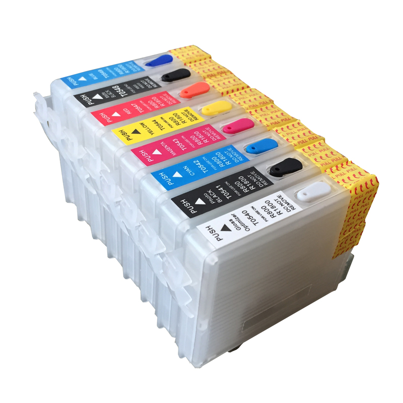cartucho de tinta recarregavel de 8 pces para epson r800 r1800 com chip de arco vazio