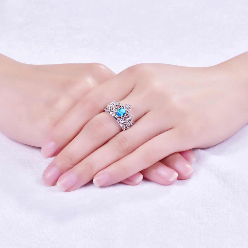 Lingmei Trasporto di Goccia Crown Princess Jewelry Pear Cut Blue & White Zircone Argento ColorRing Formato 6-9 10 Da Sposa fascia Gioielli