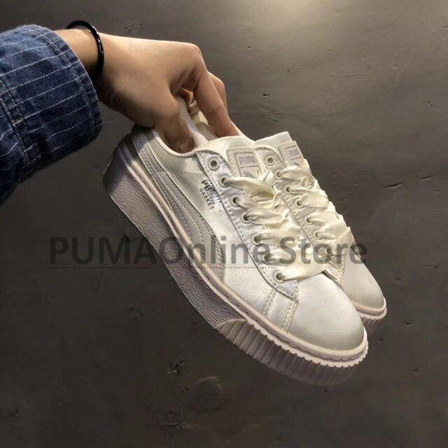 17bdbf25ccc6c0 Original Puma BASKET platform Tween Jr Rihanna series Women s Sneakers Suede  Satin Badminton Shoes Size 35-39