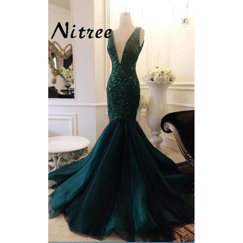 Green Beaded Mermaid Party Evening Dresses Turkish Arabic In Dubai ...