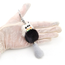 цена на Genuine Mink Fur Owl Key Chain Ring Brand New Cute Fluffy Pompom Raccoon Keychain Pom Pom Doll Bag Charm Car Key Holder Gift