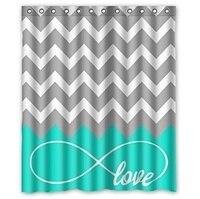 Forever Love Symbol Turquoise Grey White Waterproof Bathroom Fabric Shower Curtain Bathroom Decor