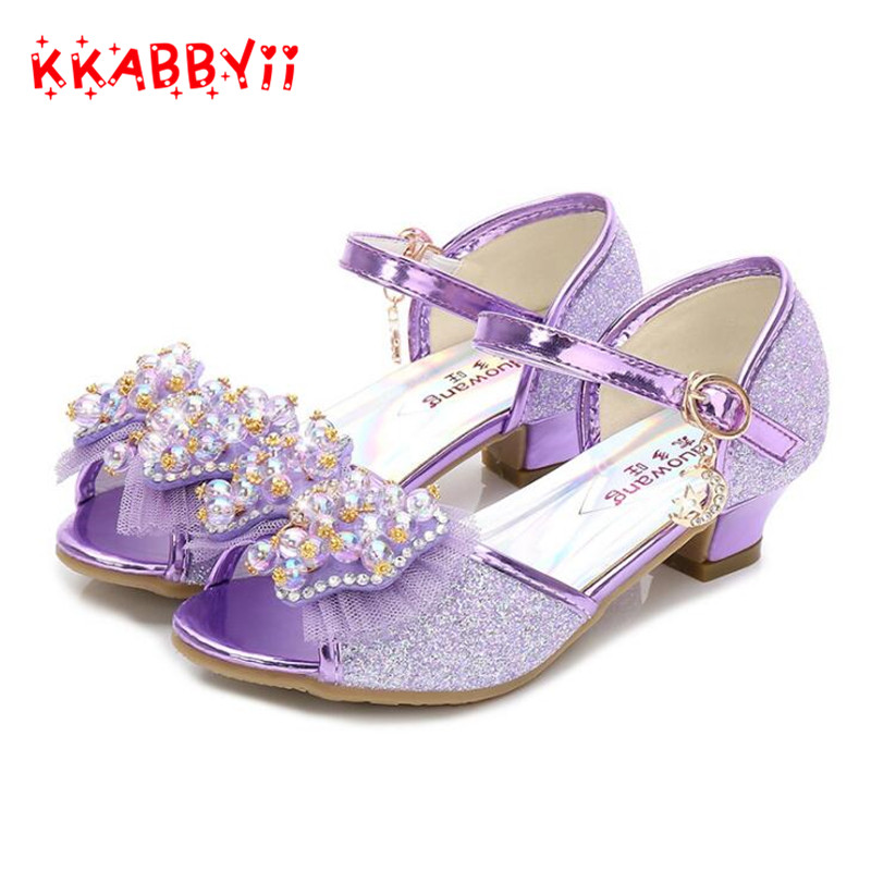 Purple sandals for girl summer high heels gilr childrens blue pink shoes sandals Princess cute fashion bow student ...