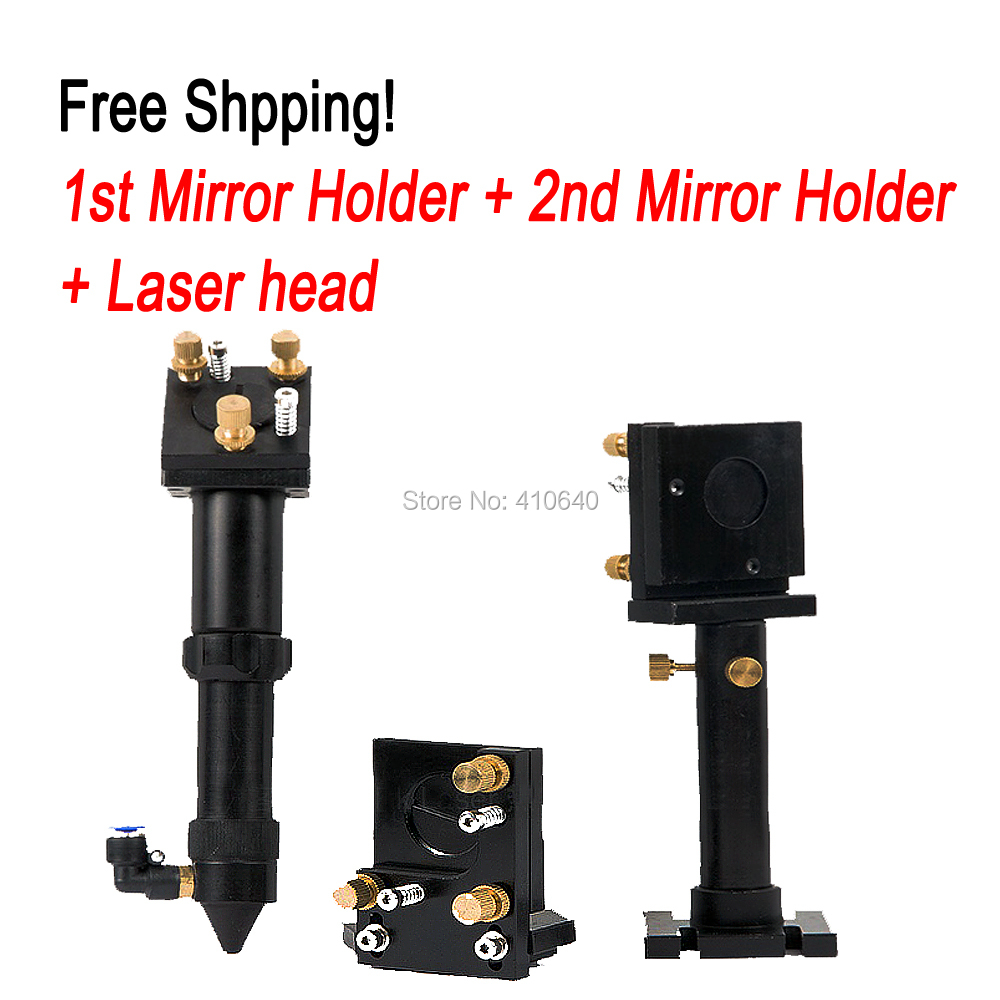 Full Set of Laser Head Laser Len Support Laser Reflection Mirror Holder Co2 Laser Head Free Shipping Very Good Quality the rail of laser machine 1490 include belt bear wheel motor motor holder mirror holder tube holder laser head etc