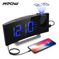 Mpow HM353 FM Radio Projection réveil avec double alarme fonction Snooze avec Port de charge USB 5 ''grand écran minuterie de sommeil