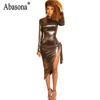 7ab5af052ea8 Abasona Gold Pu Leather Women Dress Sexy Nightclub Side Bandage  Asymmetrical Dresses Women Long Sleeve Turtleneck