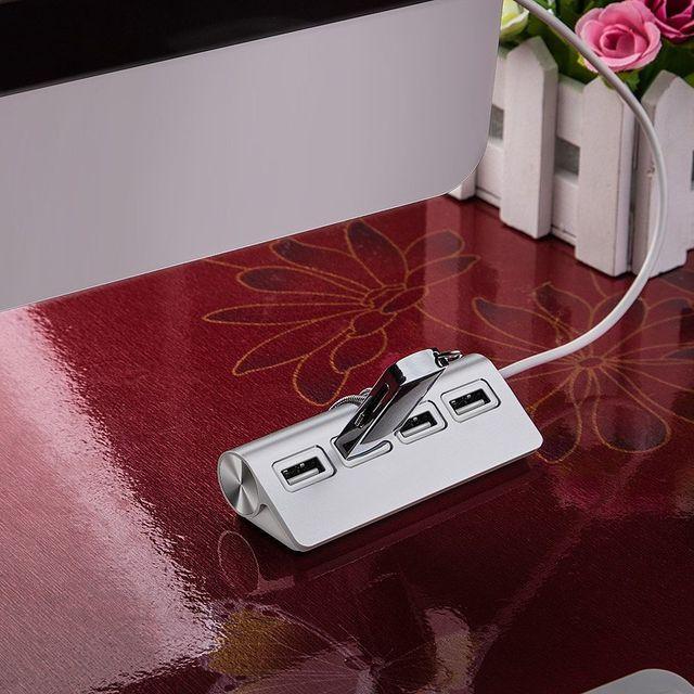 hot-USB HUB, Premium 4 Port Aluminum USB Hub with 11 inch Shielded Cable for iMac, MacBooks, PCs and Laptops