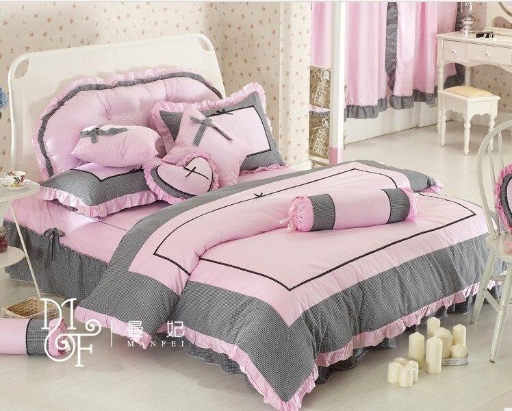 Girls Luxury Bedding: Princess Korean Style, Grey Luxury Girls Bedding Sets,Pink