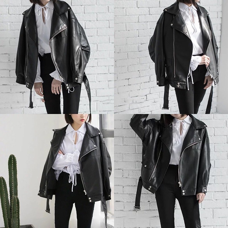 [EAM] High Quality 2020 Spring Black PU Leather Loose Turn-down Collar Zipper Fashion New Women's Wild Jacket LA938 4
