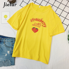 Jielur Summer Korean Women T-shirts 4 Colors Letter Strawberry Print Sweet Tees Tops Casual Female T-shirt Mujer Camisetas M-2XL