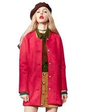 Elf SACK winter p female color block japanned leather hemming baseball woolen outerwear female medium-long