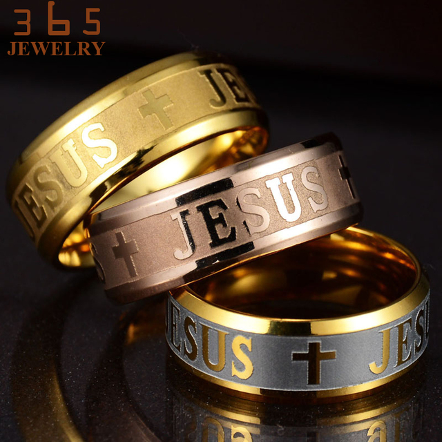 Europe Classic Jewelry Stainless Steel Letter Bible Rings Black Silver Rose Gold Band Jesus Cross Ring for Men Women Prayer 3