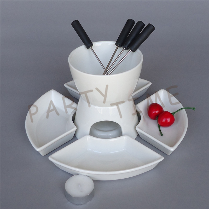 Service à fondue en céramique pour fromage, chocolat, glace bricolage fondue