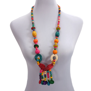 Wholesale Ethnic Long Tassel Coconut Shell Pendant Necklace Multicolor Wood Bead Strand Handmade Knitted Women Bohemian Jewelry