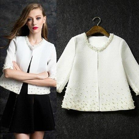 Elegant Pearls Beading White Jacket Women 2019 Autumn New Arrival Short Tops Modis Chaqueta Mujer Black Veste Femme