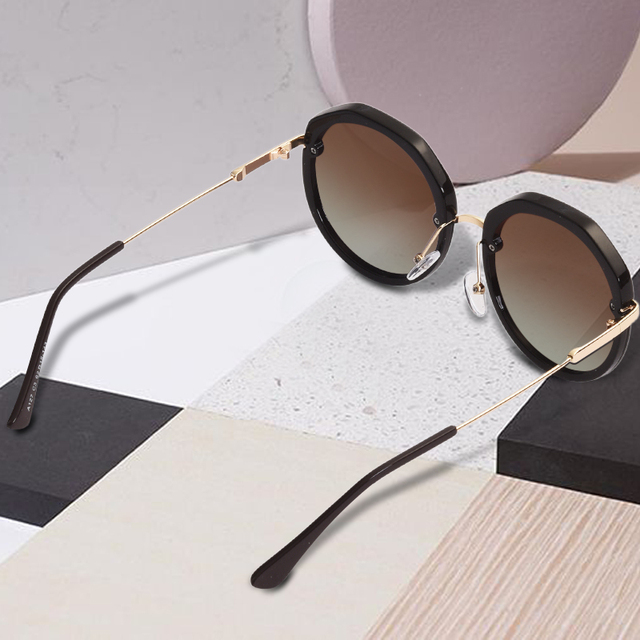 AOFLY BRAND DESIGN New Fashion Round Sunglasses Shining Frame Polarized Sunglasses Women Goggles UV400 A127 1