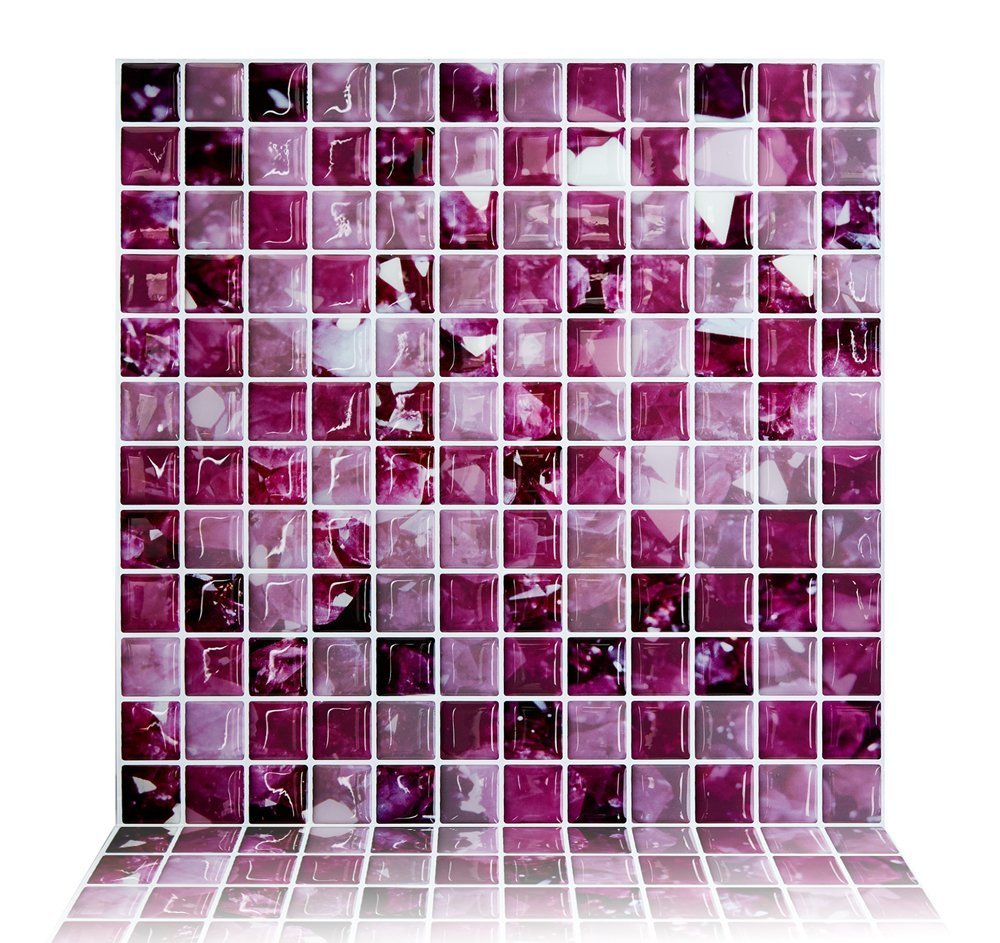 Cocotik peel and stick tiles purple kitchen backsplash for Peel and stick wallpaper squares