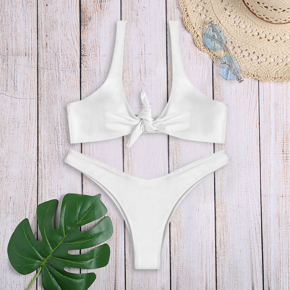 HTB1 VECXLfsK1RjSszgq6yXzpXag Women Sexy Bikini Set Swimwear Knotted Padded Thong Swimsuit Wire Free Scoop Neck Bathing Suit Swimming Suit 7 Colors