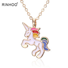 501ece8f5a46 Caballo collar de niñas niños de dibujos animados caballo accesorios de la  joyería de las mujeres Animal colgante de collar de f.