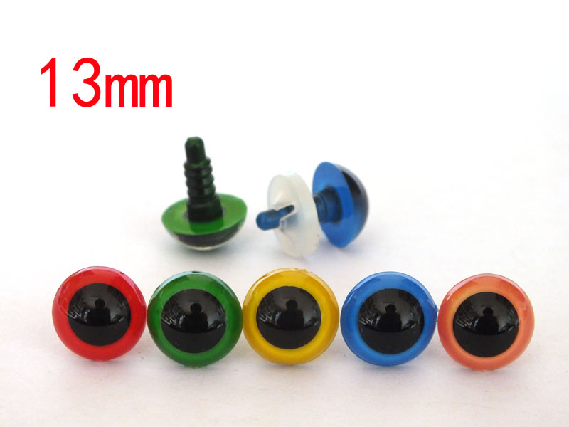 13mm 50pcs Non toxic safety eyes bear eyes with washer top quality mixed color font b