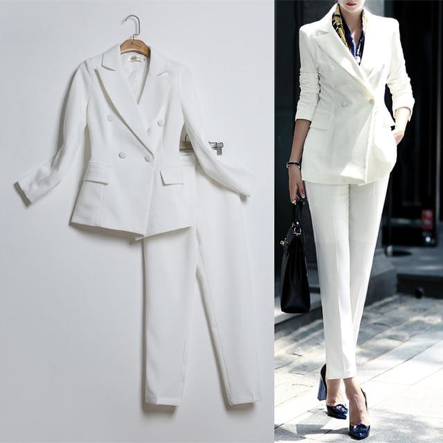 496824dcc Alta calidad de las mujeres conjunto Formal Oficina damas desgaste de trabajo  femenino trajes Pantalón estilo