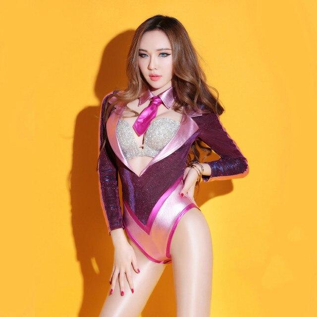 e61415eafa34 € 35.48 |Mujer sexy bodycon Monos Vogue bar club Ladies Deep V Masajeadores  de cuello manga larga etapa mostrar Mamelucos trajes para las mujeres en ...