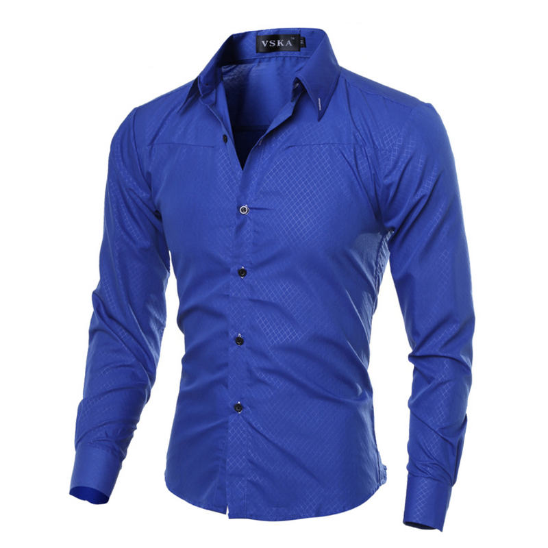2019 Casual Mens Shirts Fashion Long Sleeve Plaid Shirt For Men Social Dress Shirt Size: M-5XL(China)