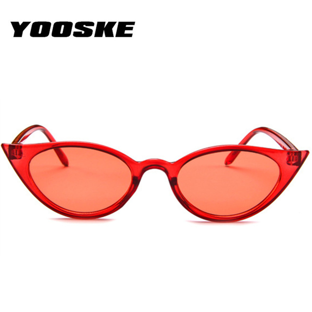 YOOSKE Women Small Cat Eye Sunglasses Luxury Brand Designer Sun Glasses Red ladies Sunglass 2018 Female Cateye Mirror UV400