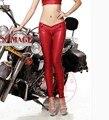 Hot Sexy Latex lápiz mate atractivo rojo de imitación de cuero de cintura baja pantalones cremallera de la entrepierna detalle de moda delgada Club Dance wear