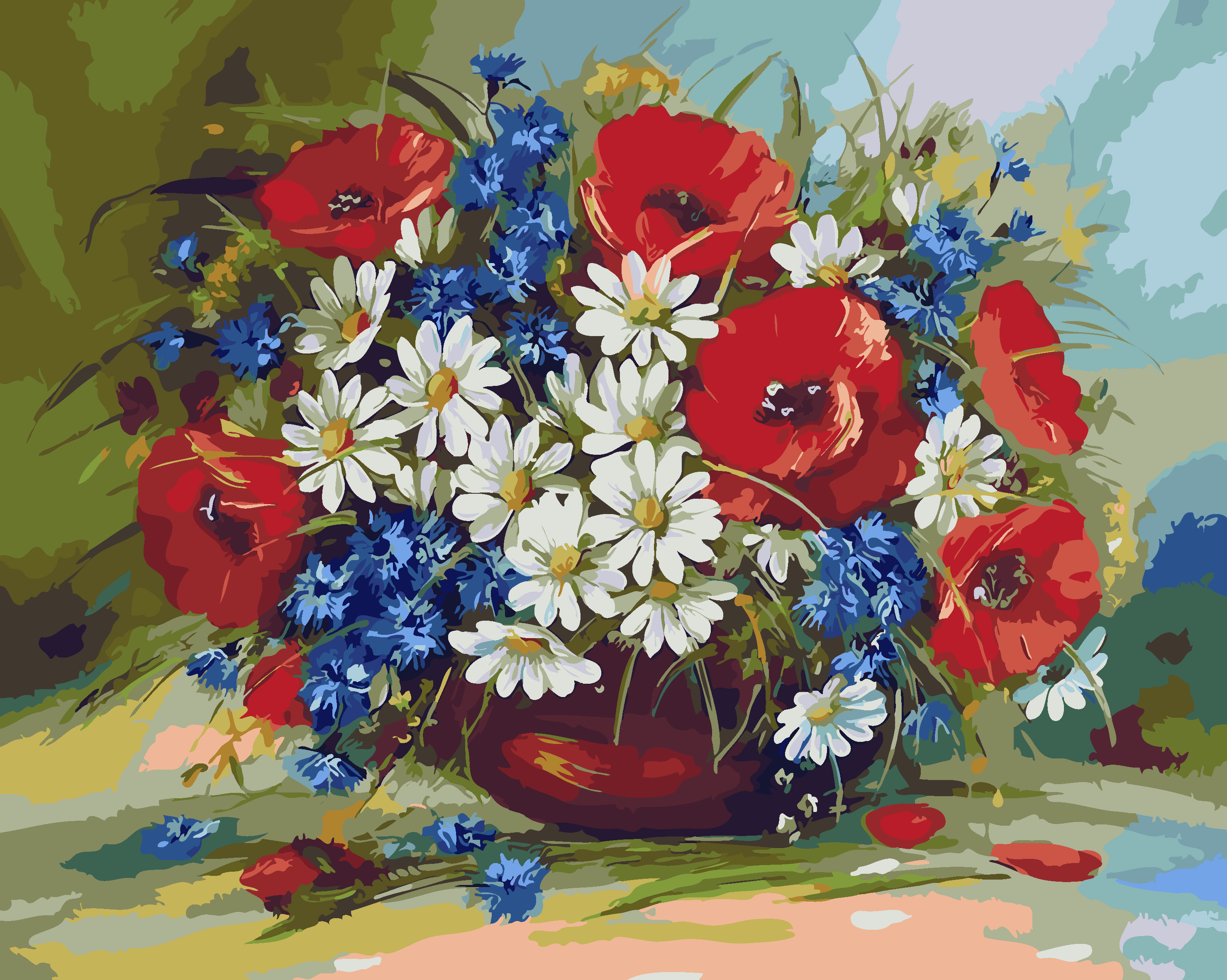 Hand Painted Diy Oil Painting Poppy Flowers Pictures By Numbers For