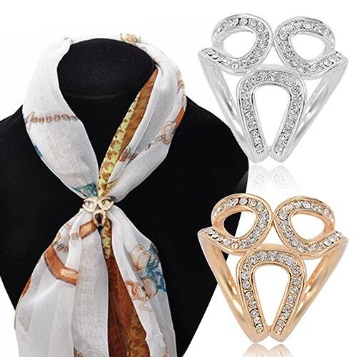 Top Quality Rhinestone Garland Hoop Twine Brooch Silk Scarf Clip Buckle Holder Jewelry Gift Broches Mujer Joyas