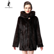 Short mink coat with hood,Fashion Slim Short mink coat,Genuine Leather,Brown,Mink fur coat from natural,women genuine fur coat
