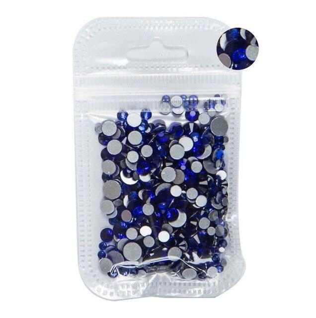 350 шт, 5 грамм, смешанные размеры, ss3-ss30, синий/зеленый/розовый/белый опал, 3D хрустальные стразы для дизайна ногтей, плоские с оборота стеклянные украшения для ногтей - Цвет: Sapphire